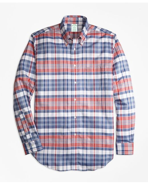 Brooks Brothers - Blue Milano Fit Oxford Madras Plaid Sport Shirt for Men - Lyst