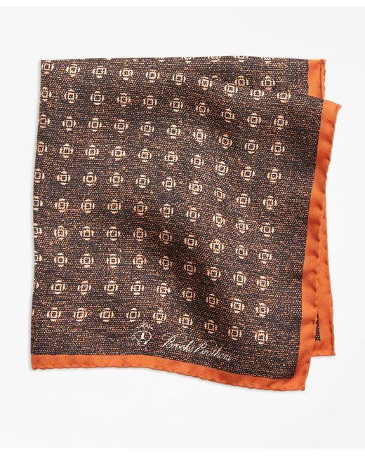 Brooks Brothers - Orange Geo Rose Pocket Square for Men - Lyst