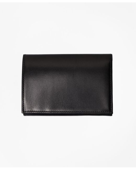 Brooks Brothers | Black French Calfskin Trifold Wallet for Men | Lyst
