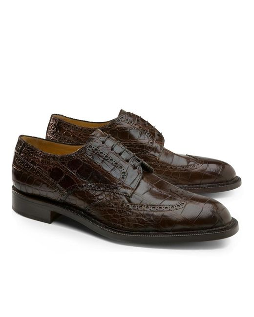 Brooks Brothers - Brown Genuine American Alligator Lace-up Wingtips for Men - Lyst