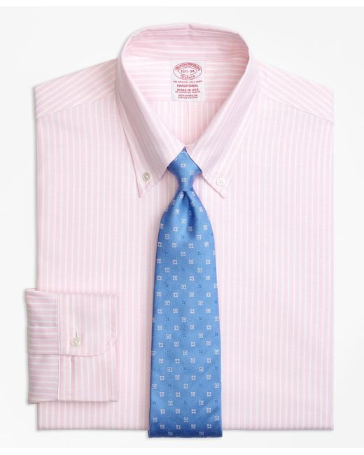 Brooks Brothers - Pink Original Polo® Button-down Oxford Traditional Relaxed-fit Dress Shirt, Ground Stripe for Men - Lyst