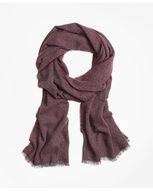 Brooks Brothers | Pink Cashmere Herringbone Scarf for Men | Lyst