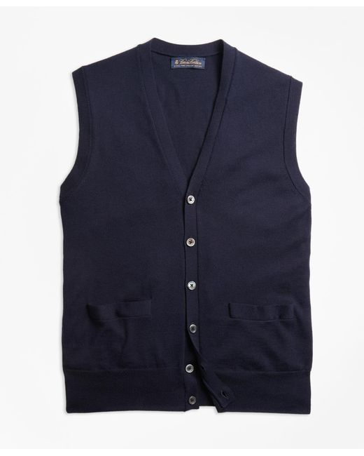 Brooks Brothers Blue Brookstechtm Merino Wool Button-front Vest for men