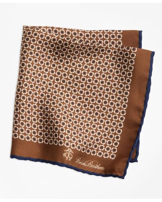 Brooks Brothers - Brown Flower Medallion Pocket Square for Men - Lyst