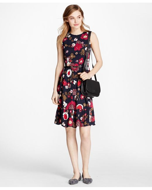 Brooks Brothers | Multicolor Floral-print Crepe Dress | Lyst