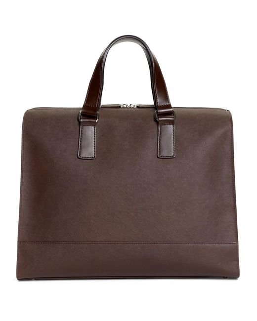 Brooks Brothers - Brown Saffiano Leather Slim Briefcase for Men - Lyst