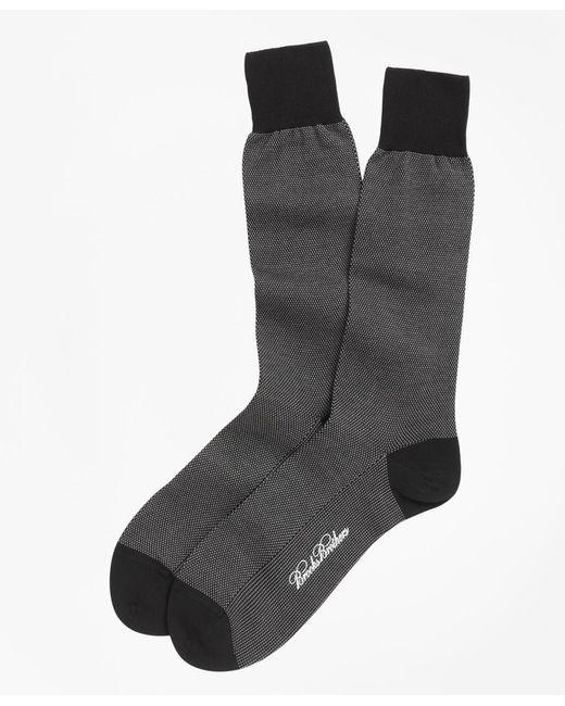 Brooks Brothers - Black Cotton Bird's Eye Crew Socks for Men - Lyst