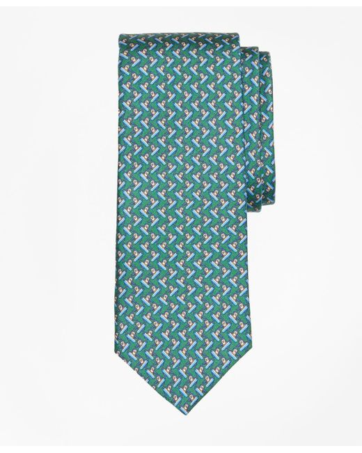 Brooks Brothers - Green Snowboarding Penguin Print Tie for Men - Lyst