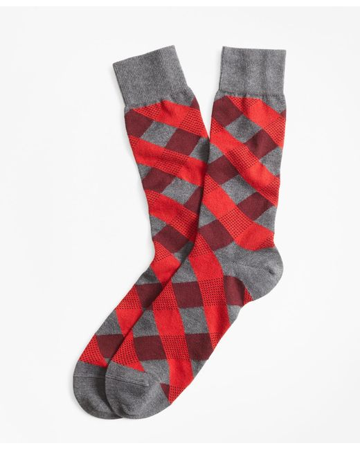 Brooks Brothers - Red Argyle Crew Socks for Men - Lyst