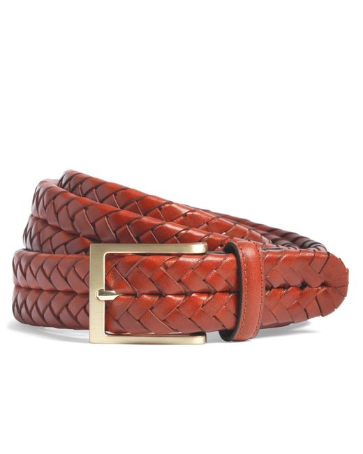 Brooks Brothers | Brown Leather Braided Belt for Men | Lyst