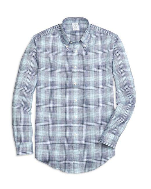 Brooks Brothers - Blue Regent Fit Glen Plaid Linen Sport Shirt for Men - Lyst