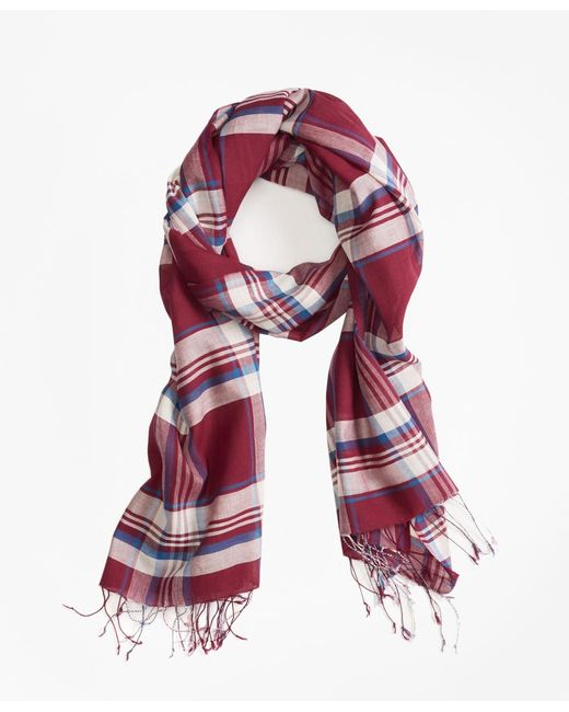 Brooks Brothers | Red Plaid Cotton Scarf for Men | Lyst