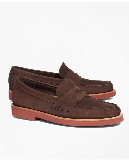 Brooks Brothers - Brown Nubuck Penny Loafers for Men - Lyst