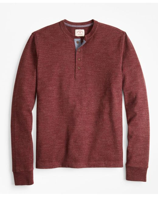 Brooks Brothers - Red Brushed Cotton Henley for Men - Lyst