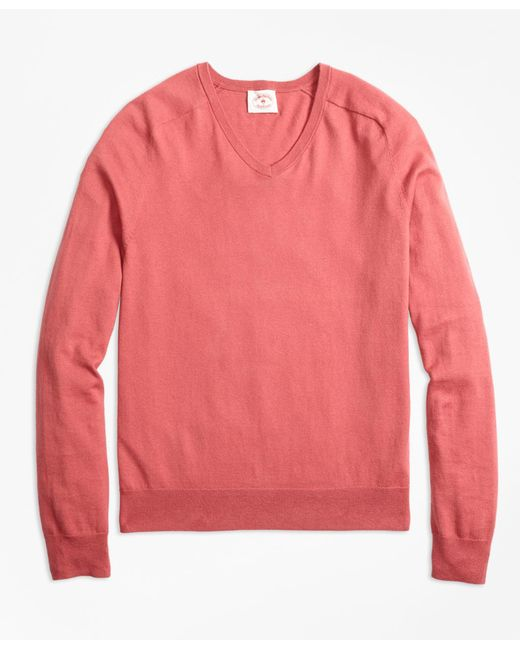 Brooks Brothers - Pink Cotton-cashmere V-neck Sweater for Men - Lyst