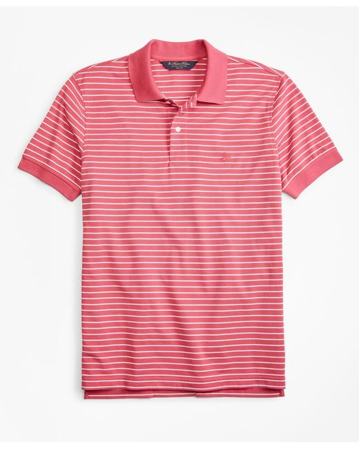1390fa86 Brooks Brothers - Red Original Fit Supima Stripe Polo Shirt for Men - Lyst  ...