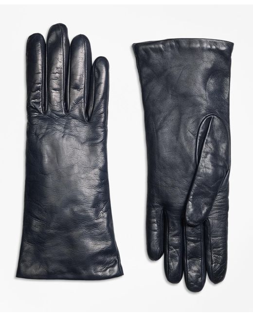 Brooks Brothers | Blue Cashmere Lined Leather Gloves | Lyst