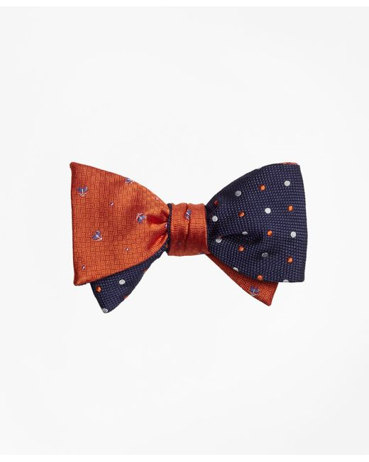 Brooks Brothers - Blue Tossed Golden Fleece® Parquet With Alternating Dot Reversible Bow Tie for Men - Lyst