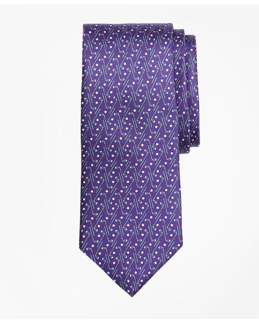 Brooks Brothers - Purple Golf Motif Print Tie for Men - Lyst