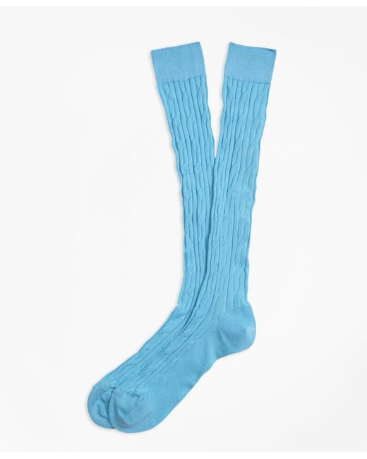 Brooks Brothers   Blue Cable Over-the-calf Socks for Men   Lyst