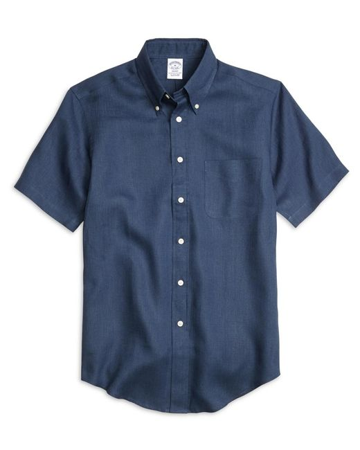 Brooks Brothers   Blue Regent Fit Linen Short-sleeve Sport Shirt for Men   Lyst