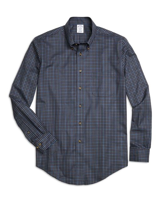 Brooks Brothers | Blue Non-iron Regent Fit Micro Plaid Sport Shirt for Men | Lyst