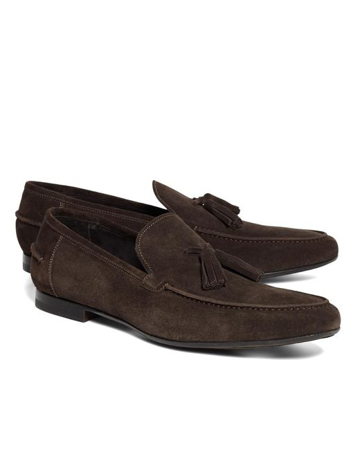 Brooks Brothers | Brown Suede Tassel Loafers for Men | Lyst