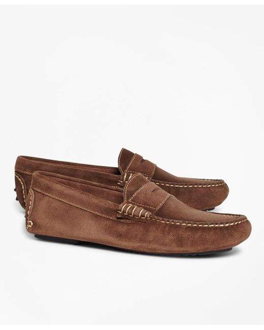 Brooks Brothers | Brown Suede Driving Mocs for Men | Lyst