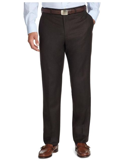 Brooks Brothers | Brown Fitzgerald Fit Plain-front Flannel Trousers for Men | Lyst