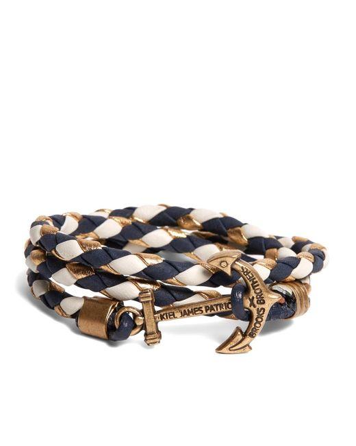 Brooks Brothers | Blue Kiel James Patrick Navy Leather Wrap Bracelet for Men | Lyst