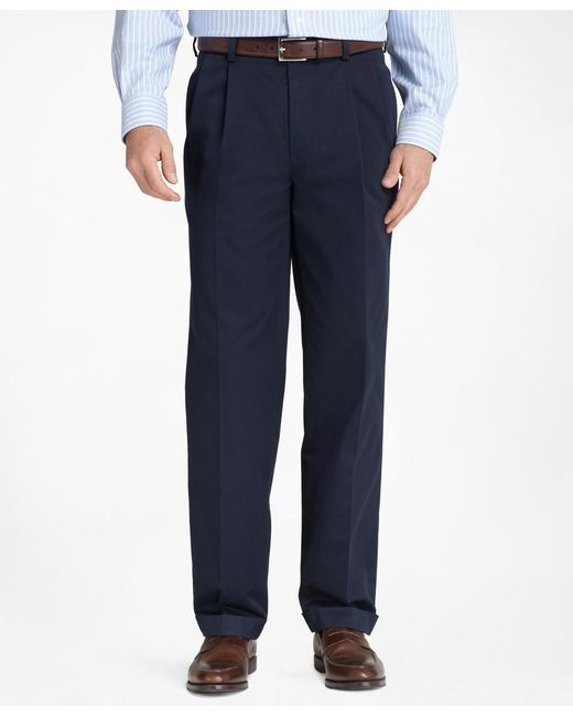 Brooks Brothers | Blue Thompson Fit Pleat-front Lightweight Advantage Chinos® for Men | Lyst