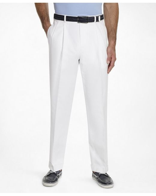 Brooks Brothers | White Thompson Fit Pleat-front Lightweight Advantage Chinos® for Men | Lyst