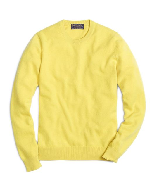 Brooks Brothers | Yellow Cashmere Crewneck Sweater for Men | Lyst