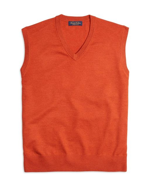 Brooks Brothers | Orange Saxxon Wool Sweater Vest for Men | Lyst