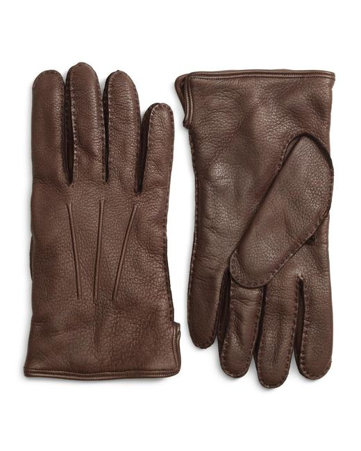 Brooks Brothers | Brown Deerskin Cashmere Lined Gloves for Men | Lyst