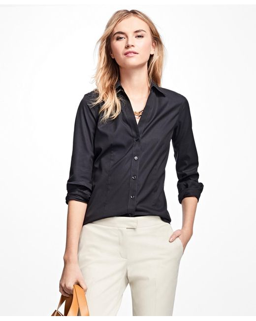 Brooks Brothers | Black Petite Non-iron Fitted Dress Shirt | Lyst
