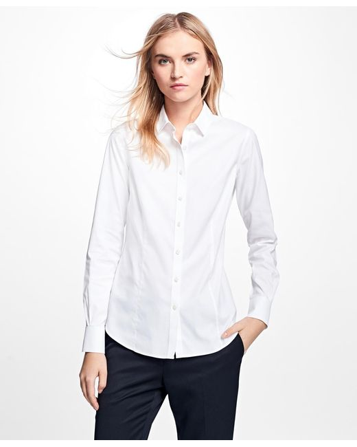 Brooks brothers petite non iron tailored fit dress shirt for Brooks brothers dress shirt fit