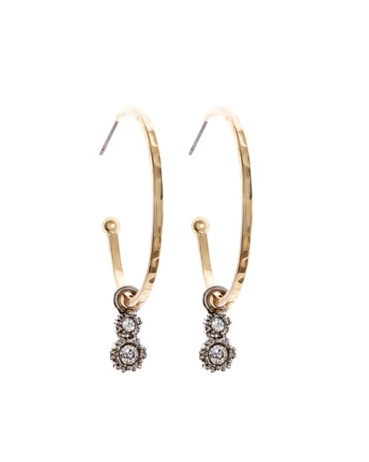 Brooks Brothers | Metallic Gold Hoop Earrings With Crystal Charm | Lyst