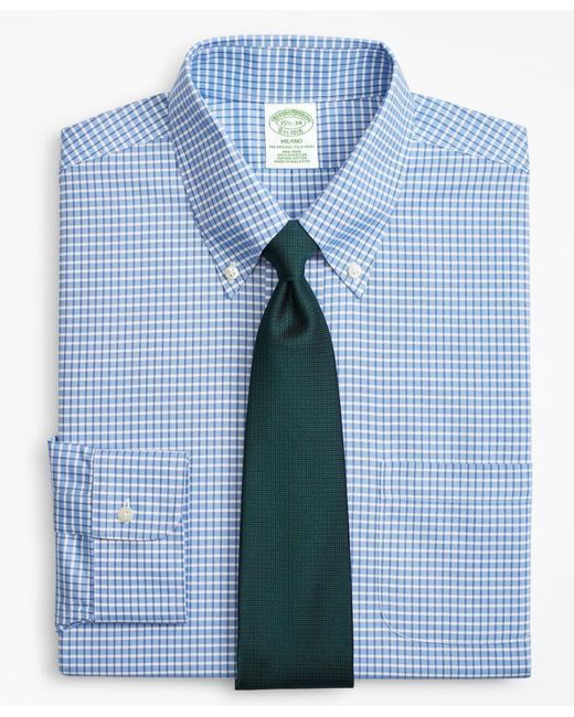 Brooks Brothers - Blue Brookscool® Milano Slim-fit Dress Shirt, Non-iron Ground Check for Men - Lyst