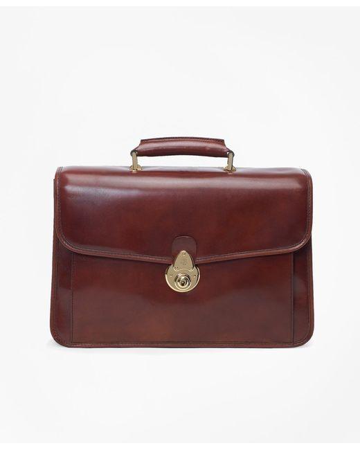 Brooks Brothers - Brown Single Gusset Classic Briefcase for Men - Lyst