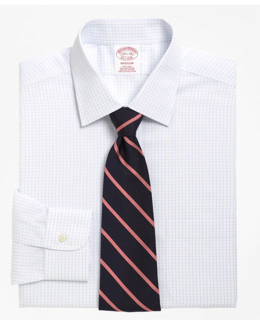 Lyst brooks brothers non iron madison fit medium check for Brooks brothers dress shirt fit