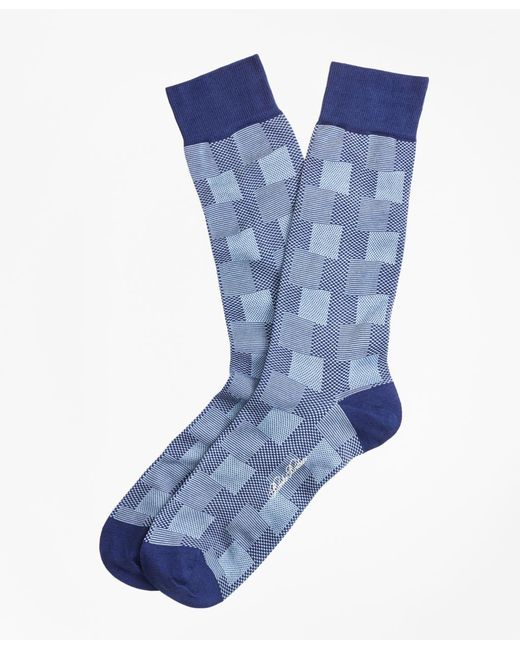 Brooks Brothers - Blue Patchwork Plaid Crew Socks for Men - Lyst