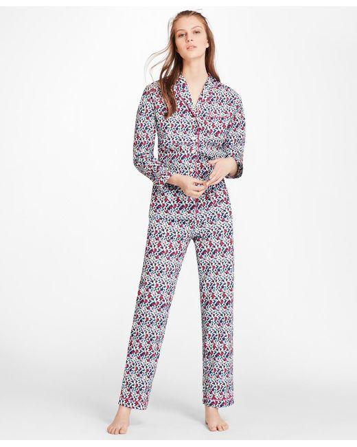 "Brooks Brothers - Blue ""b""-print Cotton Poplin Pajama Set - Lyst"