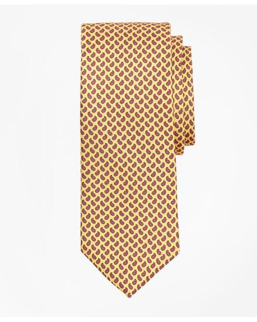 Brooks Brothers - Yellow Micro-pine Print Tie for Men - Lyst