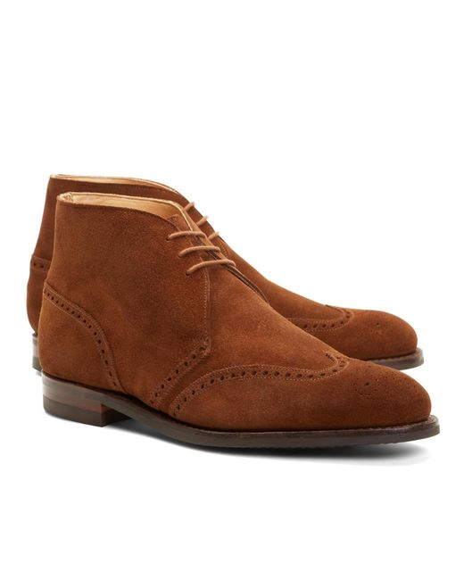 Brooks Brothers - Brown Peal & Co.® Suede Wingtip Boots for Men - Lyst