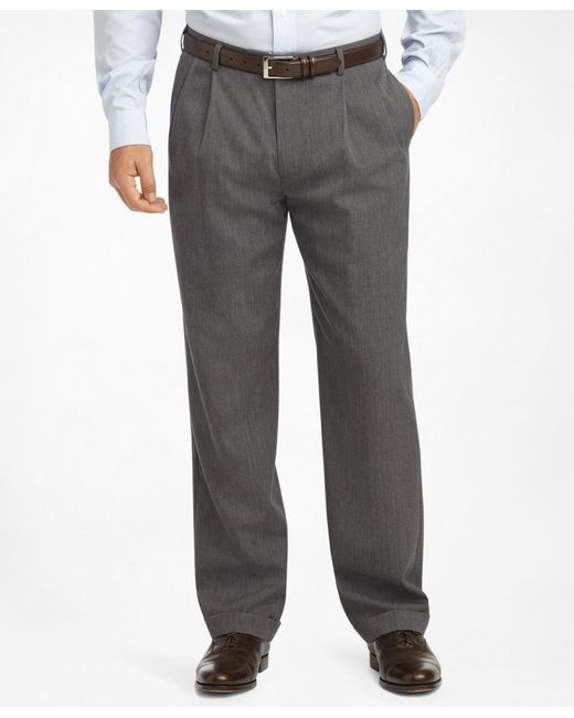 Brooks Brothers - Gray Madison Fit Pleat-front Classic Gabardine Trousers for Men - Lyst