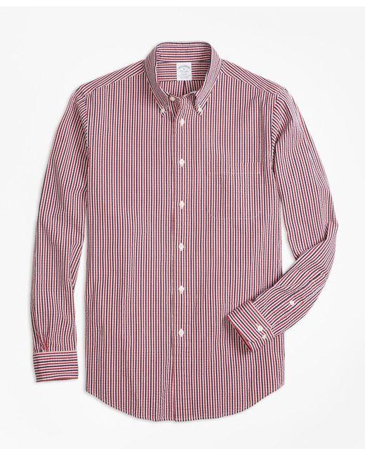 Brooks Brothers Red Slim Fit Check Seersucker Sport Shirt for men