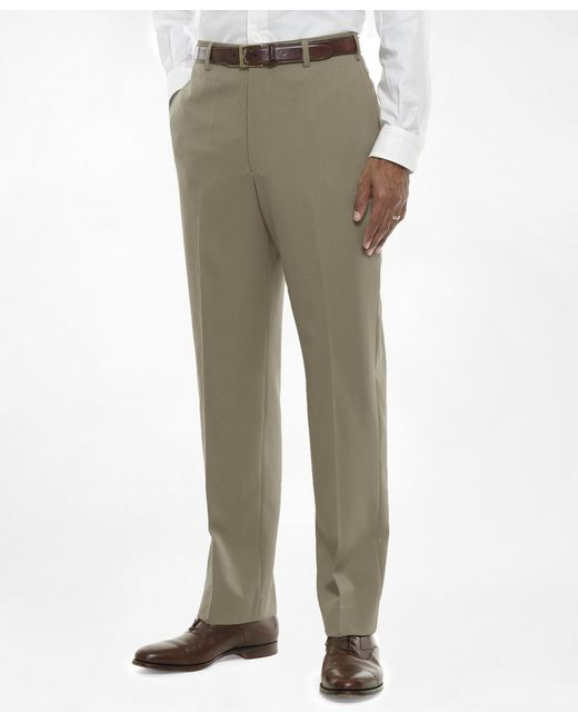 Brooks Brothers - Brown Regent Fit Plain-front Classic Gabardine Trousers for Men - Lyst