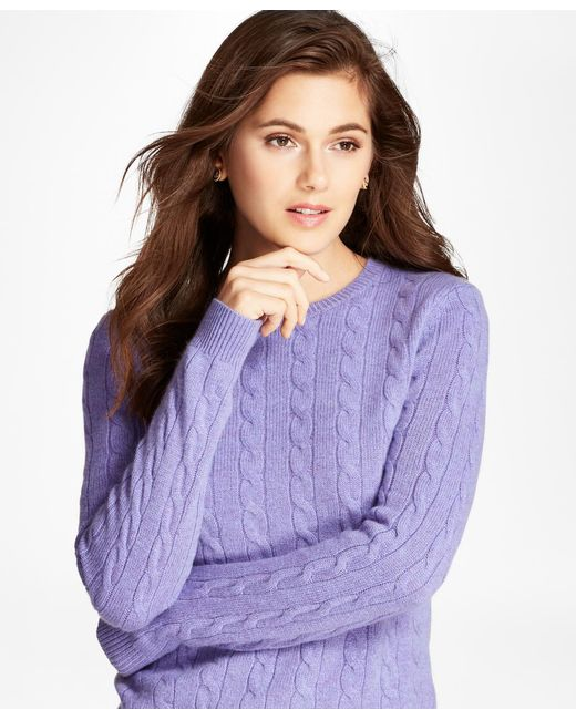 Brooks Brothers - Purple Cable-knit Cashmere Sweater - Lyst