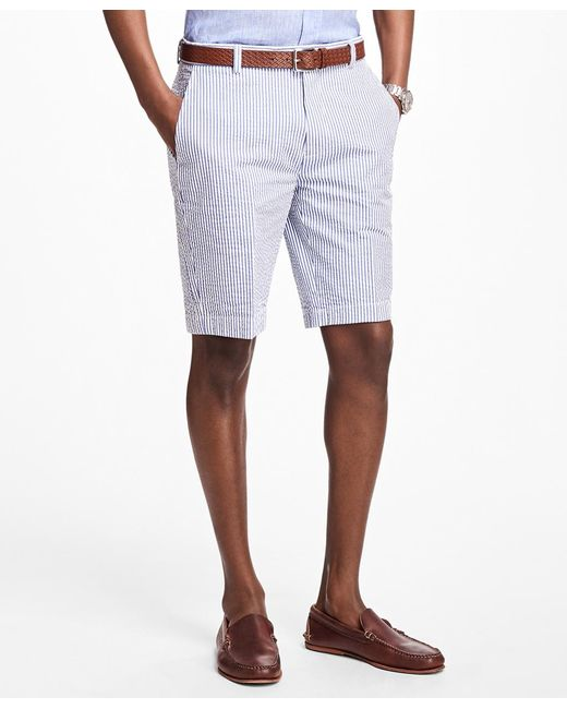 Brooks Brothers - Blue Classic Stripe Seersucker Bermuda Shorts for Men - Lyst